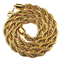Wholesale 9mm Stainless Steel Necklace - Big 9mm 6mm Gold Color Metal Braid Twisted Chain 29.5 Inch Long Thick Hip Hop Necklace Fashion Fine Jewelry Free Shipping