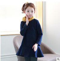 Wholesale Blue Polka Princess Dress - Kids Winter Autumn dress Big girls cotton polka-dots long sleeve dress Children zipper back Falbala princess dress Kids Clothing C1732