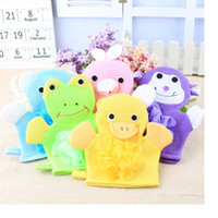 Wholesale Wholesale Pink Baby Mittens - Cartoon Animals Kids Bath Mitten Buddy Duck Frog Rabbit Fun Children Washing Bath Gloves Baby Bath Rub Towel WA1790