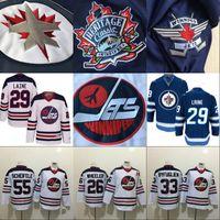 jets jerseys baratos al por mayor-29 Patrik Laine Jersey Winnipeg Jets 2016 Heritage Classic Men 26 Blake Wheeler 33 Dustin Byfuglien 55 Mark Scheifele Hockey Jerseys baratos