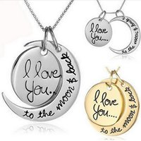 Wholesale Ladies 14k Gold Necklace - pendant necklaces words for women colar jewelry lady friendship jewelry necklaces moon sun mother dad for girlfriend boyfriend grandma