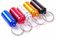 aluminium-pillenhalter schlüsselanhänger großhandel-Schlüsselhalter Aluminium Wasserdichte Pille Geformte Mini Box Kleine Flasche Halter Container Keychain Schlüsselanhänger Schlüsselbund Metall Box Pille Fall