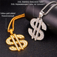 US Dollar Money Necklace Pendant Stainless Steel / Gold Cor Chain para mulheres / homens Rhinestone Hip Hop Bling Jewelry