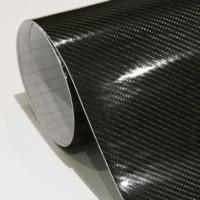 Wholesale high gloss vinyl - Car Styling 152cm*30cm High Gloss 5D Black Carbon Fiber Vinyl Film Carbon Fibre Car Wrap Sheet Roll Film tools Car Sticker Decal