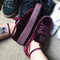 Wholesale Creepers Sneakers - Rihanna Creepers Fenty Velvet Creeper Trainers Burgundy Red Black Grey With Original Box Suede Creeper Sneakers 36-44