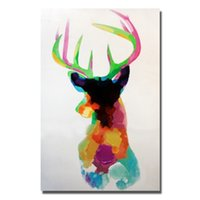 Wholesale Christmas Design Items - Hand painted wild animal deer cartoon pictures decorative design christmas wall decoration promotional item 2016 custom oil painting