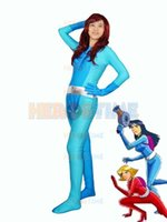 Wholesale Kids Catsuit Costume - Totally Spies! Britney Blue Spandex Superhero Halloween Cosplay Costume Zentai Lycra Catsuit Free Shipping