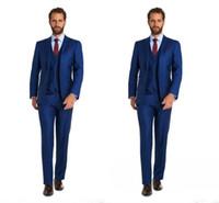 ingrosso stili tuxedo per il matrimonio-Vestito su ordine fatto a mano degli uomini di stile del vestito del legame del legame del vestito maschio blu di tre pezzi economici di Tuxedos Trasporto libero