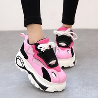 Wholesale Korean Elevator Shoes - New female Casual Shoes Women Shoes Platform Harajuku Elevator Canvas Shoes Woman Korean Fashion Muffin Thick Soled Flats Zapatos Mujer
