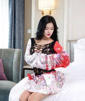 Wholesale Cosplay Kimono Black Dress - Free Shipping Women Fantasia Black Satin Flower Nightdress Beautiful Lace Japan Kimono Lingerie Exotic Uniform Games Cosplay