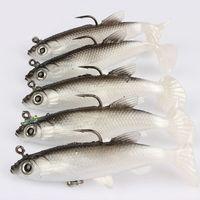 ingrosso indossare la testa di pesce-5Pcs 8cm Soft Bait piombo testa pesce esche Bass Fishing Tackle Sharp Hook Nuovo