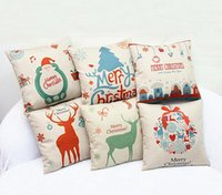 Wholesale knitted ball covering - Merry Christmas Pillow Cases Cushion Cover Sofa Christmas tree Reindeer Santa candy ball Pillow Case Square Xmas pillow covers Free express