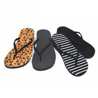 Wholesale Stripe Wedges - Leopard Grain Women Wedge Flip Flops 2017 New Ladies Stripe EVA Bathroom Flip-flops Summer Casual Beach Slippers Cavser FF-28
