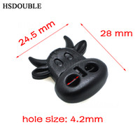 Wholesale Plastic Stoppers Cord Locks - 100pcs lot Cord Lock Toggle Stopper Plastic Black Ox Cow Head Style Size: 28mm*24.5mm*8.8mm Toggle Clip