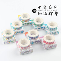 Commercio all'ingrosso - 2016 7m * 15mm bello nastro di mascheramento dell'acquerello Kawaii Scrapbooking DIY appiccicoso Deco Japan Adhesive Washi Nastro Stazione sveglia
