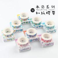 Wholesale Kawaii Deco Tape Wholesale - Wholesale- 2016 7m*15mm Beautiful Watercolor Masking Tape Kawaii Scrapbooking DIY Craft Sticky Deco Japan Adhesive Washi Tape Cute Station