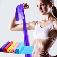 Wholesale Yellow Pilates Bands - 1.5m Colour Elastic Band Yoga Pilates Strap Sling Outdoor Gym Equipment Sport Gym Arm Band Rubber Stretch Resistance Exercise Fitness Band
