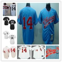 Wholesale Cheap White Buttons - Chicago White Sox 14 Bill Melton Blue Zipper Jersey Top stitched vintage 1972 pinstripe throwback 1970 white button road cheap Jerseys S-4XL