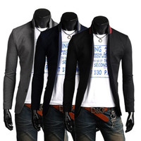 Wholesale Stylish Spring Mens Jackets - Wholesale- 2016 New Spring Mens Suit Jacket Stand Collar Casual Business Coat Three Buttons Autumn Slim Fit Stylish Blazer Suits