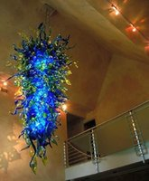 China Flush Mount Chandelier Lights Blue and Green 100% Handmade Murano Glass Hanging Crystal Chihuly Cheap