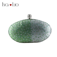 EB741 Custom Made Green Blue Crystal Evening Bag Embreagens Embalagens Lady Wedding Purse Rhinestones Wome Handbags