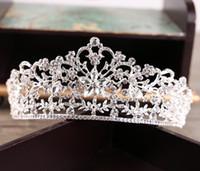 corona de cuentas reina al por mayor-Tamaño grande reina corona nupcial de la alta calidad chispa cristales moldeados Roayal boda coronas velo cristal diadema accesorios para el cabello 2017 corona