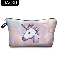 Wholesale Makeup Clear Storage - Wholesale- DAOXI Unicorn Cosmetic Bags 3D Printing Women Necessary for Travel Storage Makeup