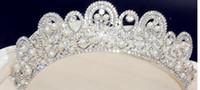 Wholesale Tiara Diamond Wedding Dress - Korean pearl oversized hand red bride tiara crown wedding dress accessories diamond hair accessories