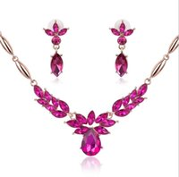 Wholesale Access Jewelry - Crystal Leaf Pendant Necklace Earrings Set Bride Wedding Jewelry Flower Stud Earrings Necklace Jewelry for Women Prom Evenning Party Access