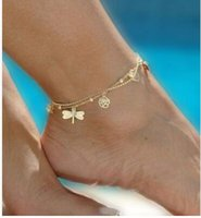 Wholesale Double Ball Lock - Summer anklets dragonflies butterflies rose leaves summertime joker shells anklets Ms double anklets