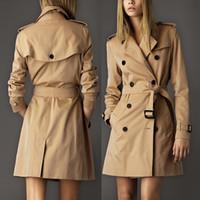 Wholesale trench coat feminino - European Style 2018 Autumn Trench coat casaco feminino British Plus Size Long Double breasted Slim Windbreaker Outerwear Coats