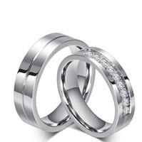 korea pärchen ring groihandel-6mm für Männer und Frauen Mode Edelstahl Schmuck Ring für Paare und Liebhaber Korea-Stil mit 9 CZ Diamanten Inlay Papa Valentinstag Geschenke