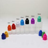 ingrosso fumo e cig blu-Per Vape Oil E Cig Liquid Bottles 5ml 10ml 15ml 20ml 30ml 50ml Empty Dropper Ldpe Plastic Childproof Caps Puntali lunghi e sottili