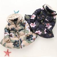 Wholesale floral velvet coat - New children Floral Hooded Coat Winter girls Long Sleeve Plus velvet Thicker Flowers Outwear kids Down Coat 2 colors C3272