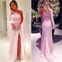 ingrosso abiti scuri per le donne-Blush Pink One Prom Dresses Prom Dresses With Sash Lace Side Split Mermaid Evening Gowns Sleeves Women Formal Wear Vestito da sera