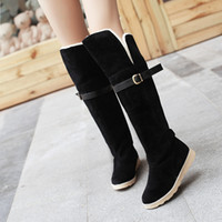 Wholesale Ladies Flat Belt Shoes - NEW Belt hasp ladies snow boots woman platform fashion designer thigh high boots suede leather shoes over the knee booties2016 C