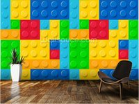 Wholesale Custom wallpaper for children Lego Effect D wallpaper mural for living room bedroom kitchen wall waterproof PVC wallpaper