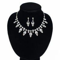 Wholesale Silver Rhinestone Costume Jewelry - 2017 New Wedding Costume Accessories Cubic Zircon Crystal Bridal Earrings And Necklace Jewelry Sets For Brides