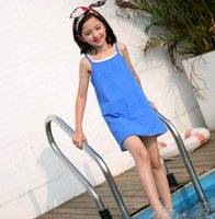 Wholesale Dresses Baby Cool - Simple Children Girls Sleep Dresses Cool Summer Babies Bath Wear Solid Color Pure Cotton Suspender Casual Dress for Kids