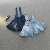 Wholesale Overall Denim Dress - Everweekend Girls Vintage Ruffles Denim Overall Dress Suspend Dress Children Blue Color Western Fashion Classic Party Dress