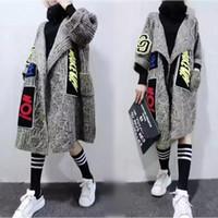 iplik hırka toptan satış-Toptan-Sonbahar bahar kış gevşek rahat artı boyutu hırka kadın 200 orta-uzun iplik kadın kazak giyim
