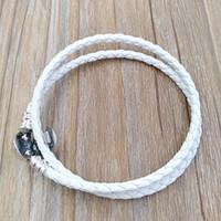 ingrosso gioielli in argento fatti a mano in pelle-Autentico argento 925 avorio bianco intrecciato doppio braccialetto di cuoio adatto per gioielli stile europeo pandora charms perline fatti a mano 590745CIW-D