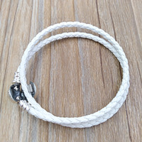Wholesale double braid - Authentic 925 Silver Ivory White Braided Double-Leather Charm Bracelet Fits European Pandora Style Jewelry Charms Beads Handmade 590745CIW-D