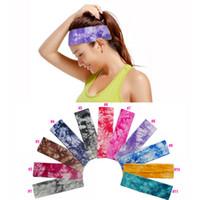 Wholesale Yoga Hair Ties Wholesale - 2 inch Tie Dye Cotton Stretch Headbands Yoga Sports Girl Hair Bands Bandage Gum Turban Bandana