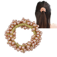 Wholesale Colorful Hair Bands - Colorful Imitation Pearl Beads Elastic Hair Rope Band