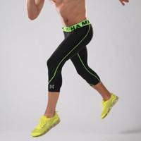 Wholesale Pant Yoga Men White - New Elastic Compression Running Pants Men's 3 4 Basketball Legging Pants Sports Jogging Gym Tights Fitness Yoga Running XL