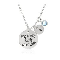 Wholesale Necklace For Health - Fashion Silver Plated My story isn't over yet Semicolon Crystal Necklace Rhinestone Mental Health Awareness Collar for Women Jewelry