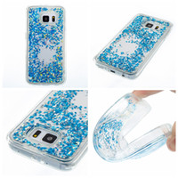 Wholesale skins move - Bling Liquid Soft TPU Case For Galaxy S7 Edge S6 A5 A7 J5 J3 Prime Confetti Foil Glitter Quicksand Heart Star Moving Skin Cover