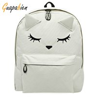 Atacado- Guapabien Casual 2016 Coreano Japonês Bordado Gato Cartoon Imprimir Mochila Mochila Cute Back School Mochila Teenage Travel Bags