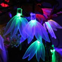 açık renkli çok renkli ışıklar toptan satış-Bahçe Yard Veranda Yılbaşı Ağacı Dekorasyon Vermek Için uygun Dört Yaprak Çiçek Renkli Güneş Açık Dize Işıkları